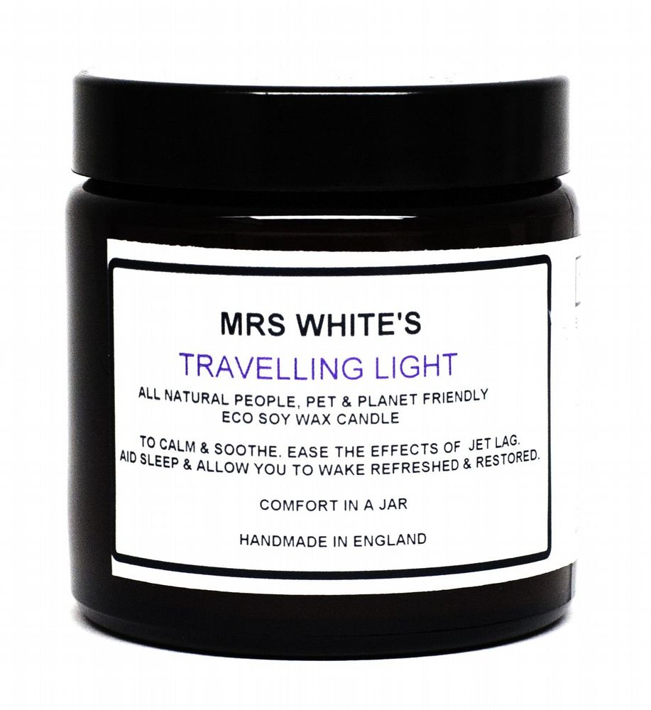 Mrs White's - Travelling Light - Candle to help ease effects of jet lag & a